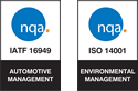 NQA IATF 16949 and ISO 14001 Registered